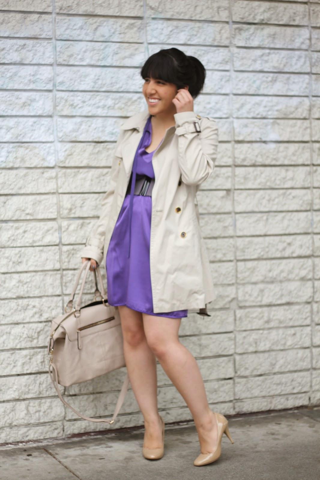 Neutrals and Purple Dress
