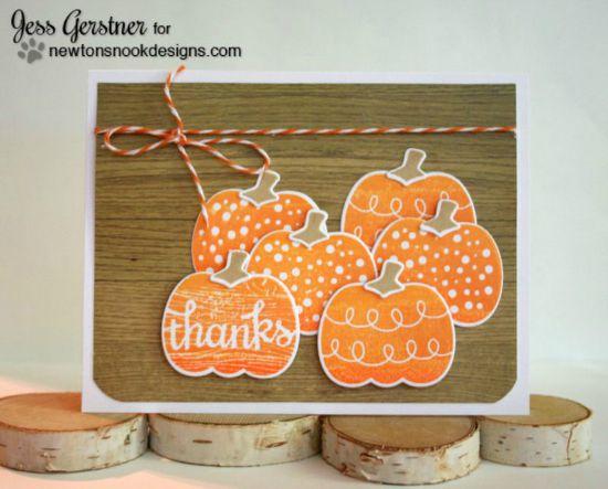 Pumpkin thanks card by Jess Gerstner | Pick-a-Pumpkin stamp set by Newton's Nook Designs #newtonsnook #pumpkin