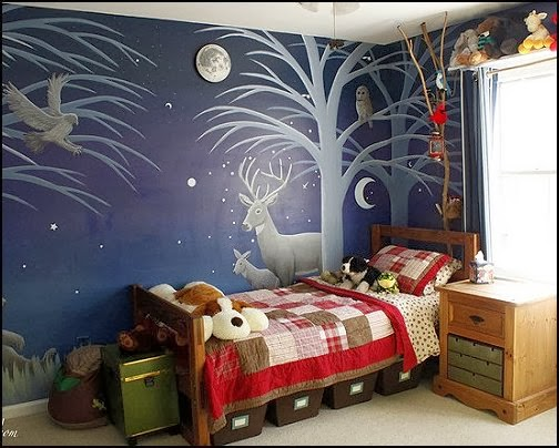 rustic cabin in the camping woods theme bedroom