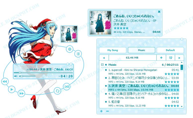 AIMP Skin Yuuki Asuna Christmas - Sword Art Online By Bashkara