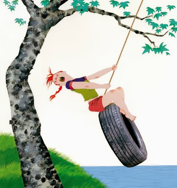 little girl on a tire swing illustration by Robert Wagt