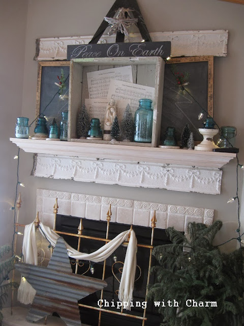 "Chipping with Charm: Rustic ""Tree"" Christmas Mantel...http://www.chippingwithcharm.blogspot.com/"