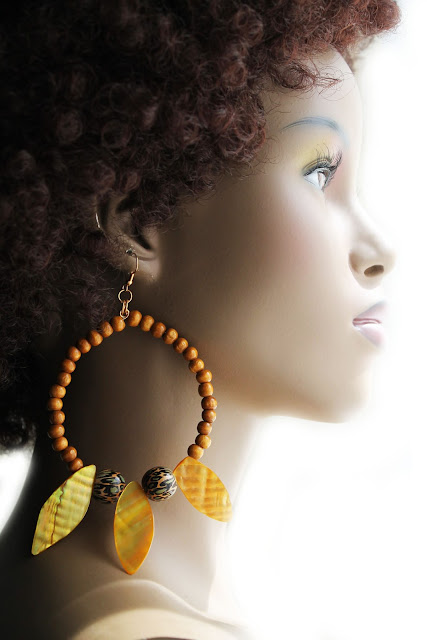large african tribal beaded hoop earrings