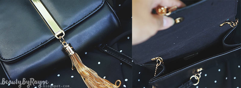 SheIn Black Chain Tassel Metal Embellished Bag
