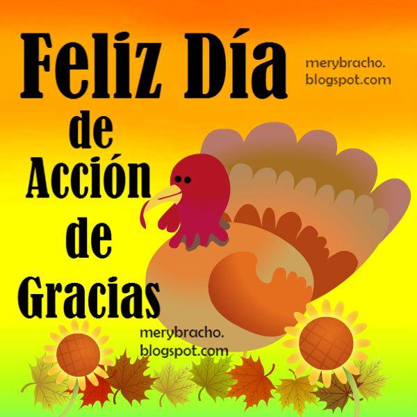 Bonita Imagen del día de Acción de Gracias, Feliz día con palabras de aliento y agradecimiento a Dios.