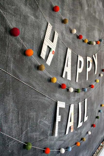 Happy Fall Felted Pom Pom Garland - 8 Great Fall Felt Crafts! www.twenty8divine.com