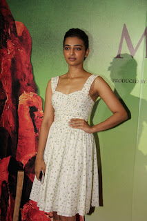 Radhika Apte in Cute Lovely and Small Sleevelss Floral Print Frock at Manjhi: The Mountain Man Screening Mumbai
