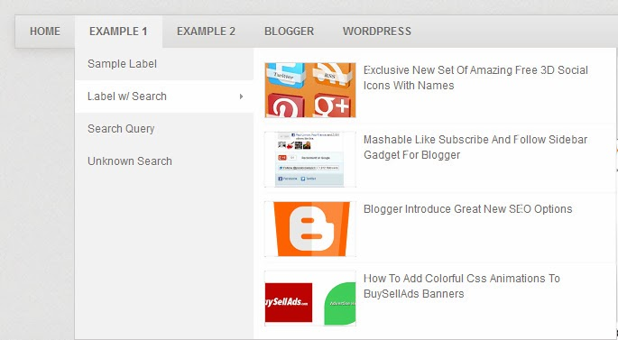 Mashable Style AJAX Navigation Menu Widget for Blogger