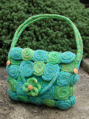 picture of pattern 022 'Spirals' french knitted bag by Debbie Tomkies of DT Craft and Design
