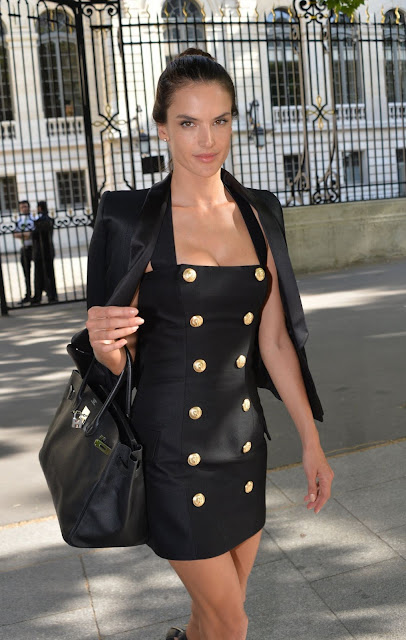 Supermodel, Actress @ Alessandra Ambrosio at Balmain Fashion show in Paris