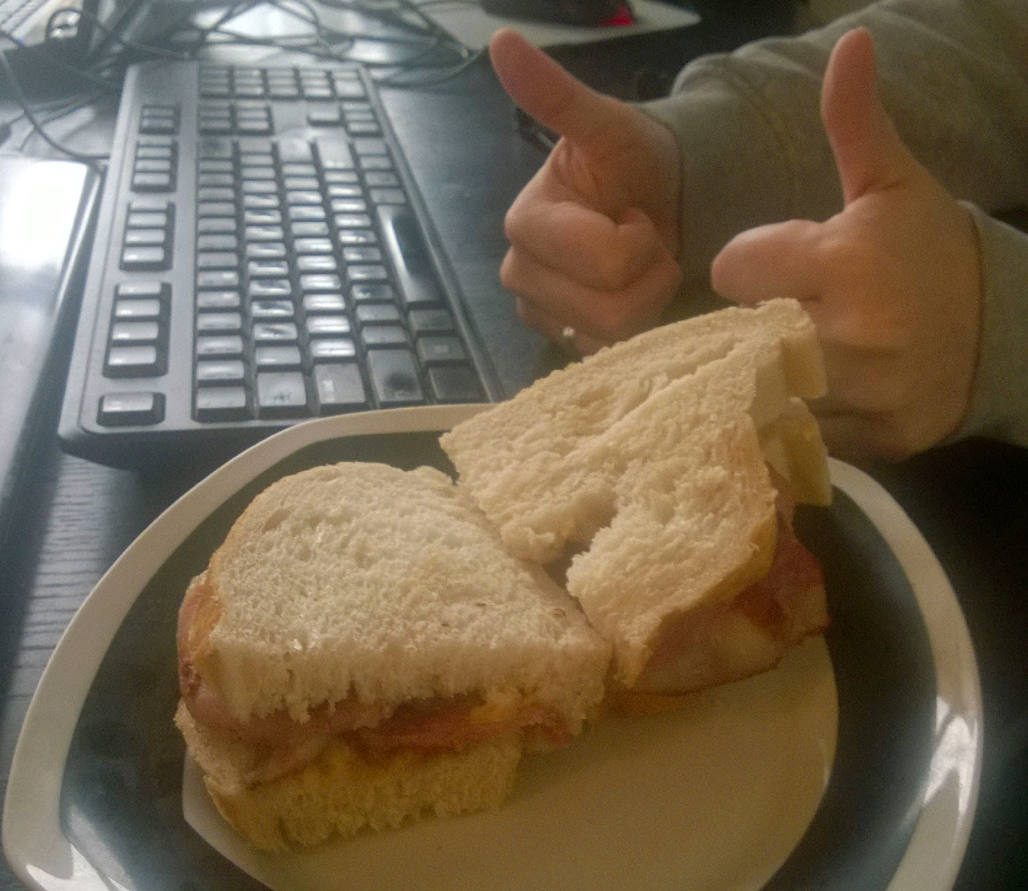 Thumbs up for the bacon butty