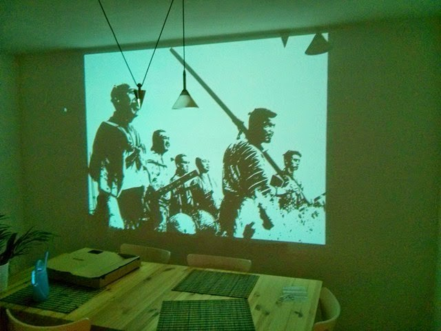 painting a wall mural using a projector