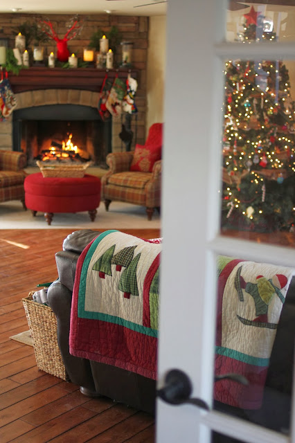Stone fireplace in Christmas family room-www.goldenboysandme.com