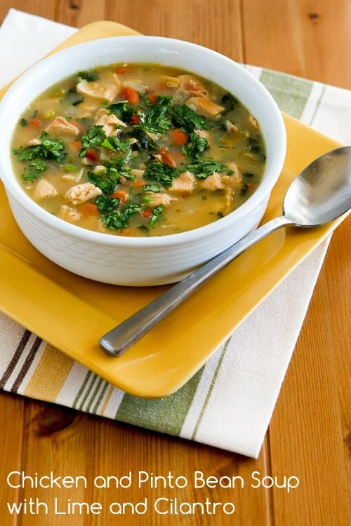 Chicken and Pinto Bean Soup Recipe with Lime and Cilantro