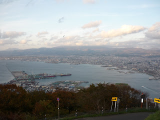 View of ocean surrounding Hakodate from Mount Hakodate with trees and road in foreground taken during the day