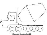 Mewarnai Gambar Mobil Truk Mixer Untuk Semen