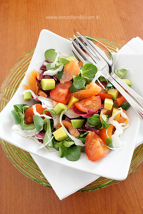 Insalata misticanza con avocado e salmone ricetta light smoked salmon salad