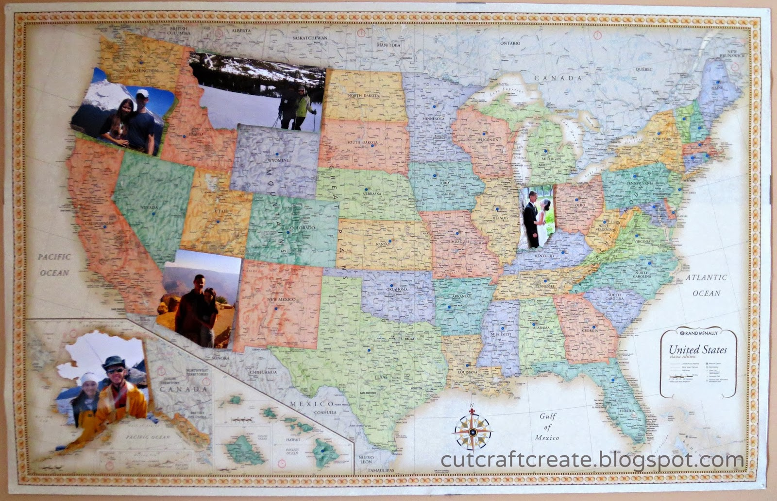 Cut Craft Create Personalized Photo Map For Our Paper Anniversary - Framed us map