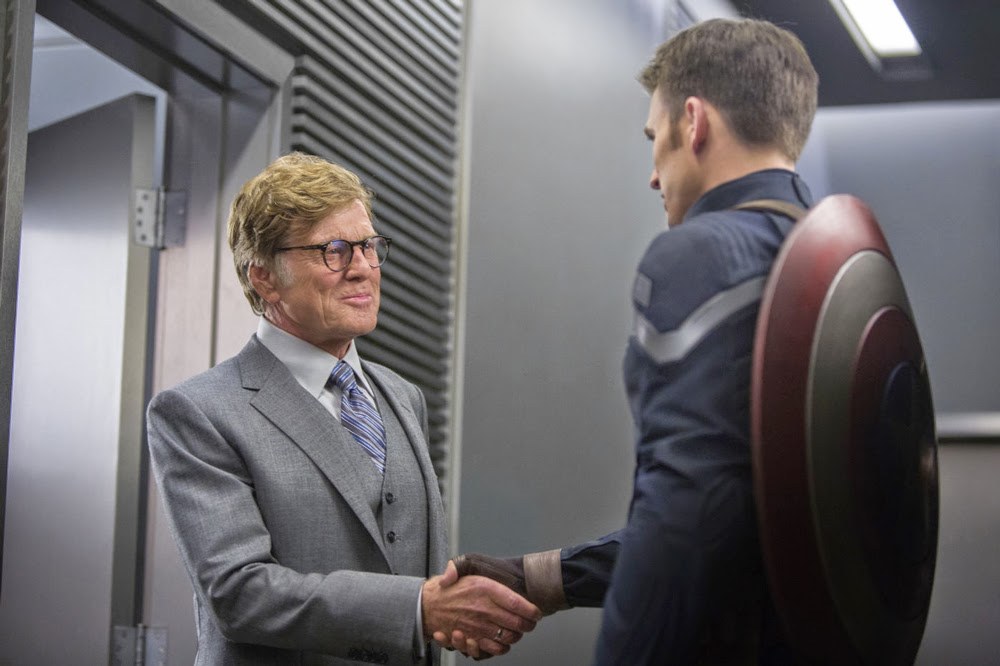 Robert Redford and Chris Evans in Captain America: The Winter Soldier