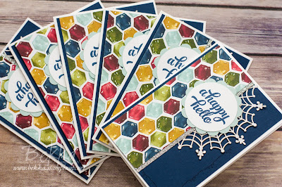 Happy Hello Card with a fun use of the reverse of the Spider Web Doilies from Stampin' Up! UK
