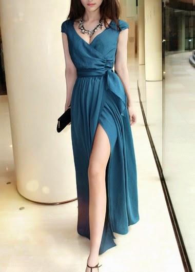 Vestido Largo Con Escote V, Sin Mangas, Lazo en Cintura y Abertura en Falda