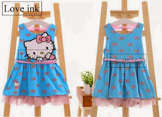 Dress Anak Hello Kitty Blue Ribbon - Baju Anak Love Ink - Harga Saudara