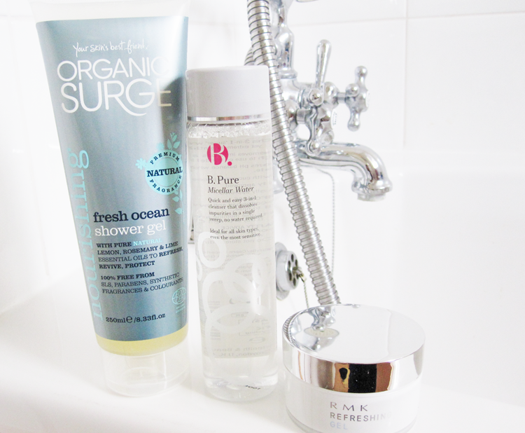 A picture of Organic Surge Fresh Ocean Shower Gel, B.Pure Micellar Water & RMK Refreshing Gel Moisturiser