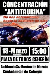 Crónica de la primera protesta Antitaurina en la historia de Cehegín: (18-3-2012)