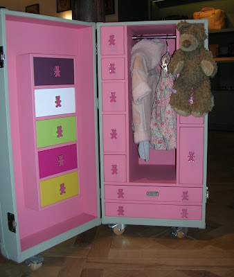 leather and wood storage trunk for a child