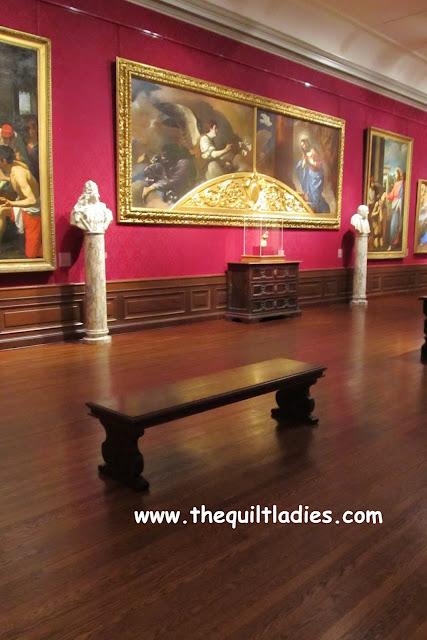Wooden bench at an art gallery