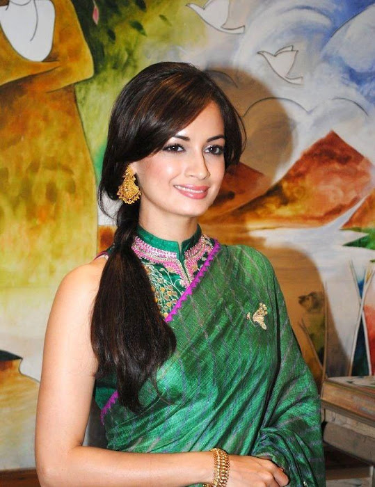 dia mirza in green saree hd actress pics