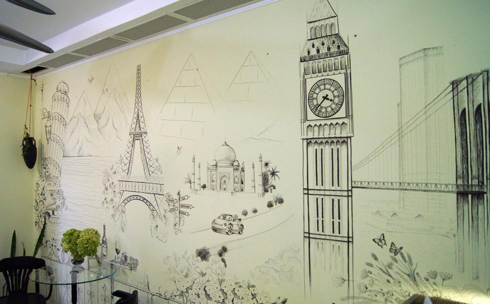 Рисунок на стене в квартире своими руками трафареты для