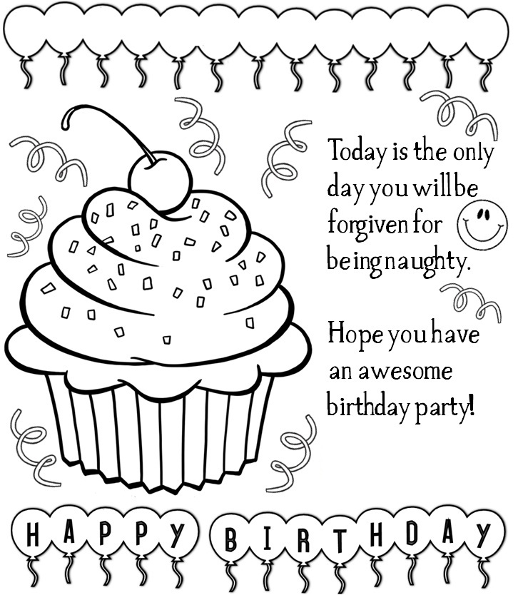 Dynamic image pertaining to free printable birthday coloring pages