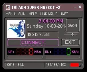 Inject Tri AON SUPER NGESOT v2 10 Agustus 2014