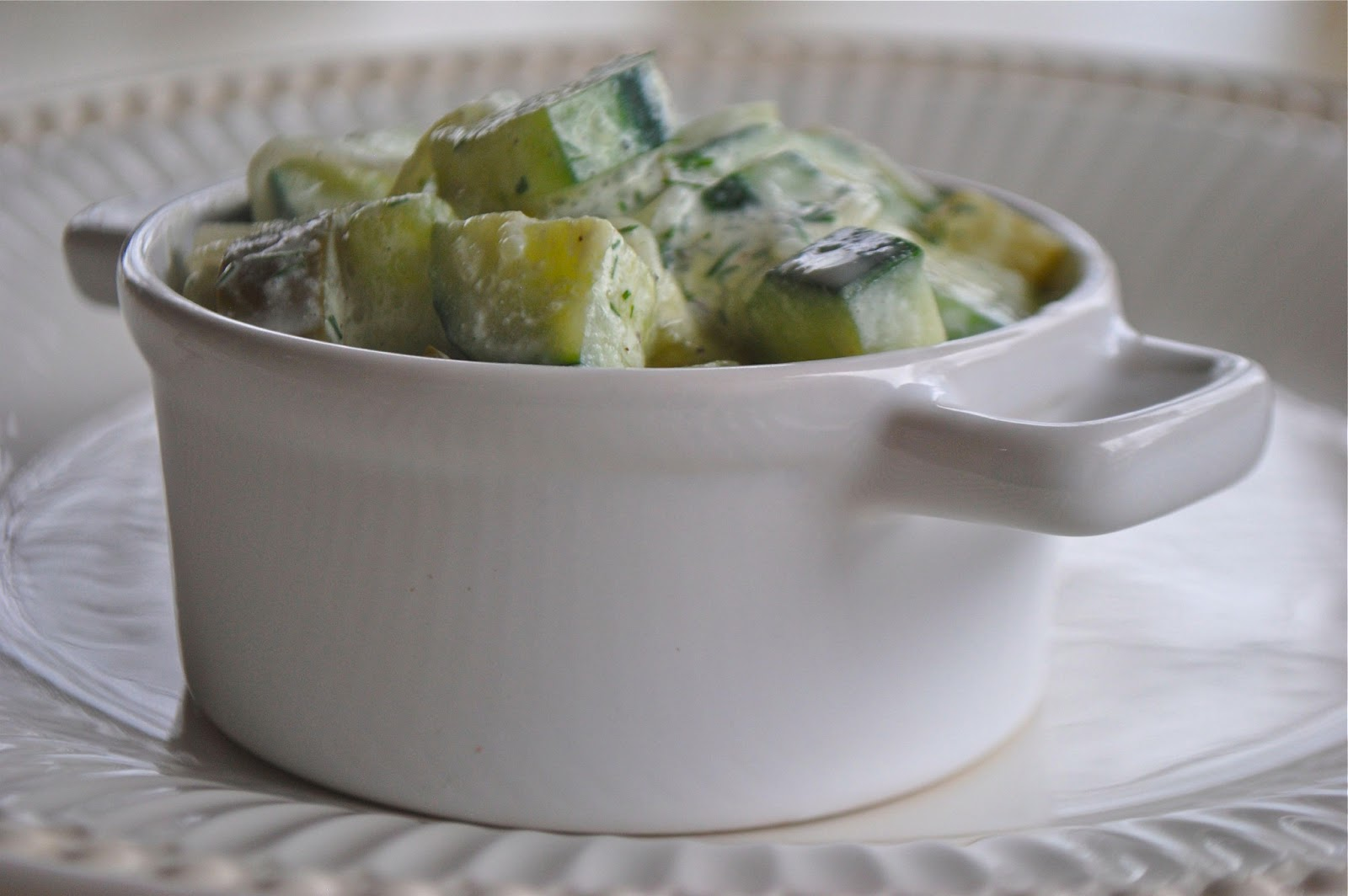 CREAMY DILL CUCUMBER SALAD and CHEESE POTATOES and PORK SHOULDER WITH ...