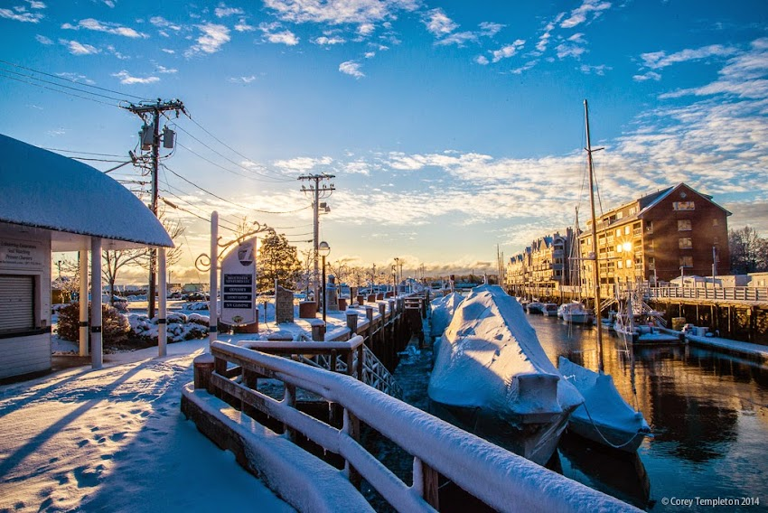 Long Wharf in Portland, Maine November 2014 snow sunrise photo by Corey Templeton
