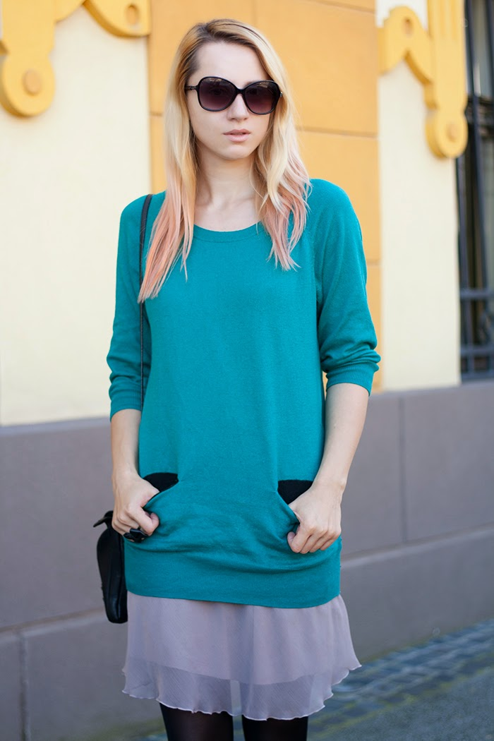 Skinny Buddha teal sweater layers H&M sun glasses