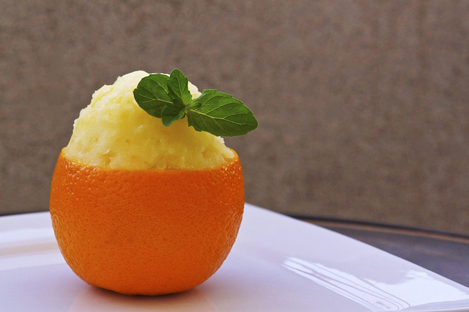 .... Homemade Orange Sorbet! Served in a fancy, biodegradable orange ...
