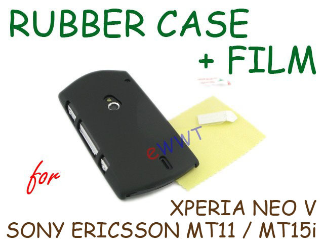 Black Rubber Cover Hard Case + Film for Sony Ericsson Xperia Neo V MT15i LQBC590