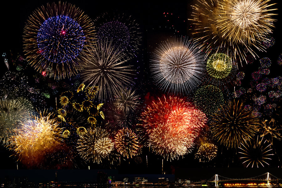 Festivals of Fireworks are held all over Japan in Summer