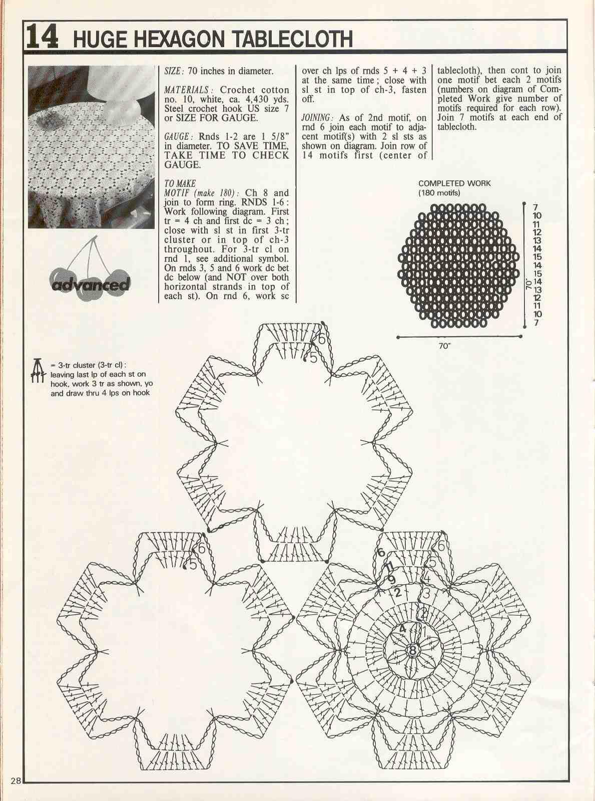 Вязание крючком скатерть на стол схема 15