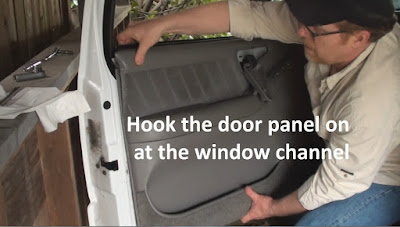 demonstration of replacing the door panel on a Side View Mirror replacement