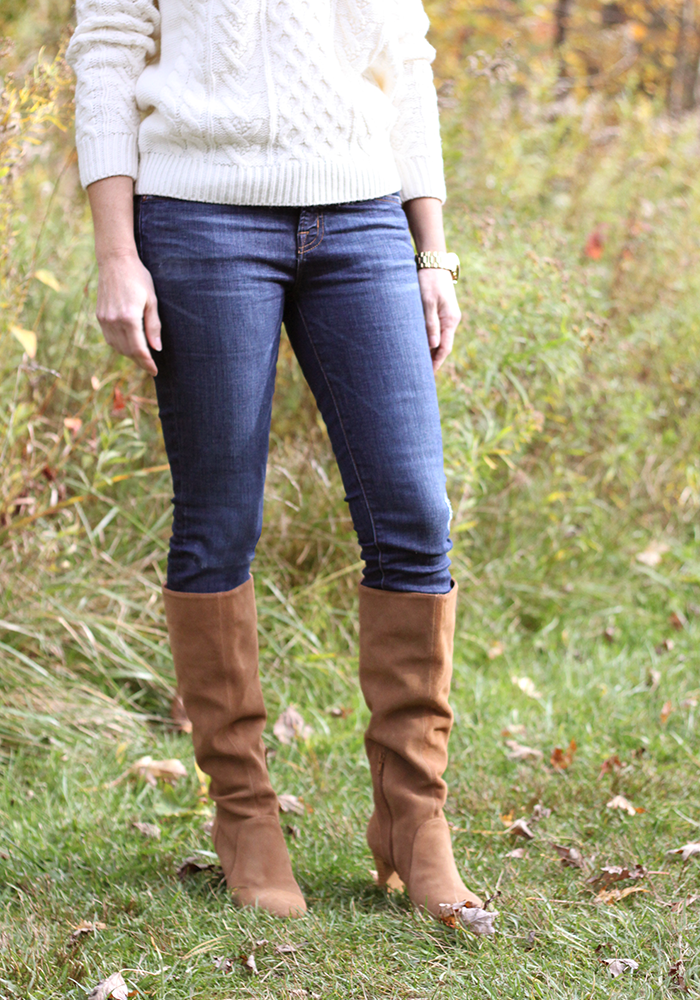 fall boots, slouchy boots, over 40 style, fashion over 40, cable knit sweater, fall trends