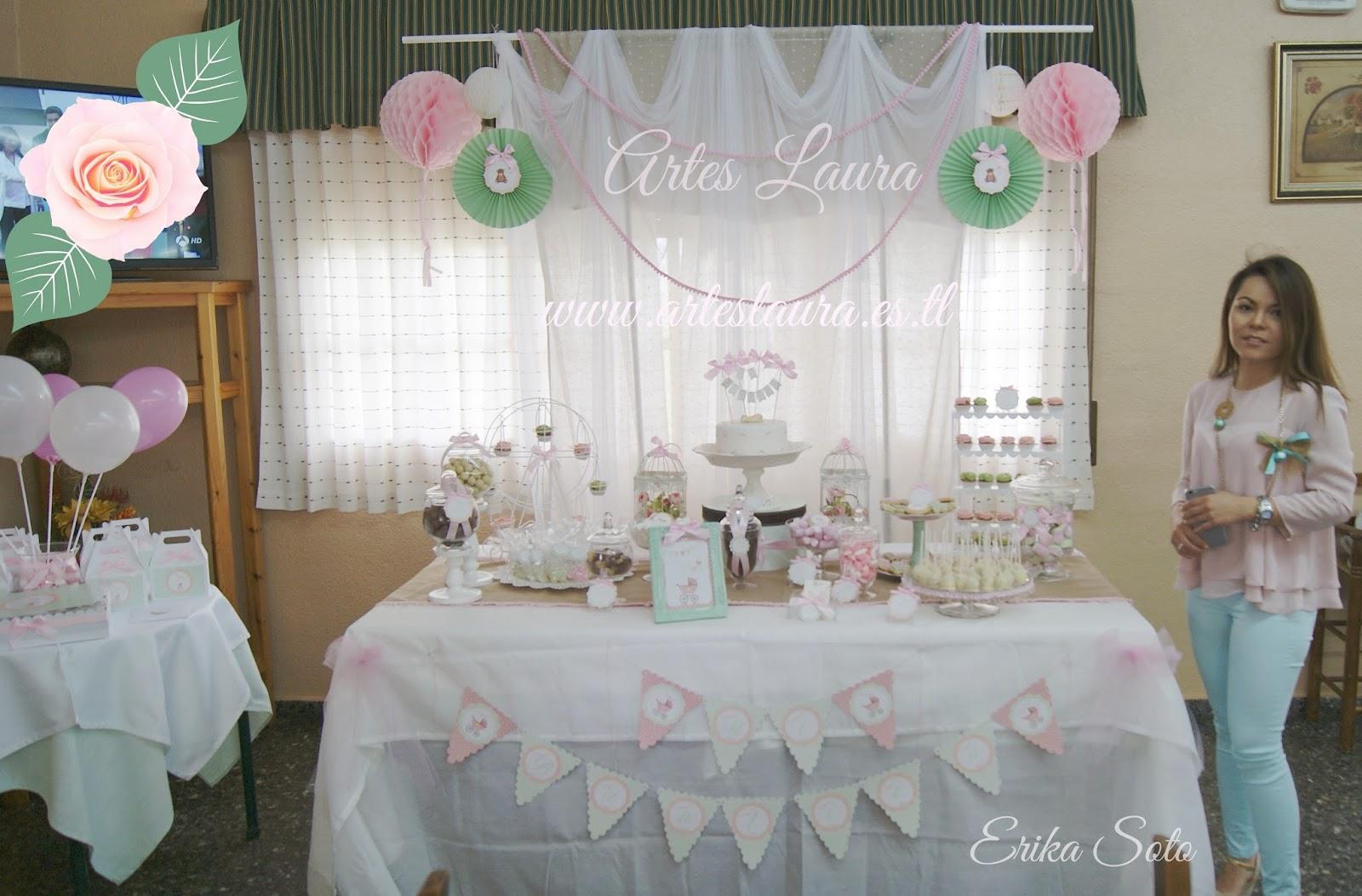 Mesa dulce o candy bar bautizo en albacete artes laura for Mesa de dulces para bautizo de nina