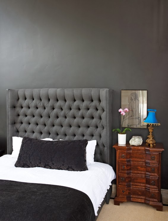 dormitorio decorado en gris