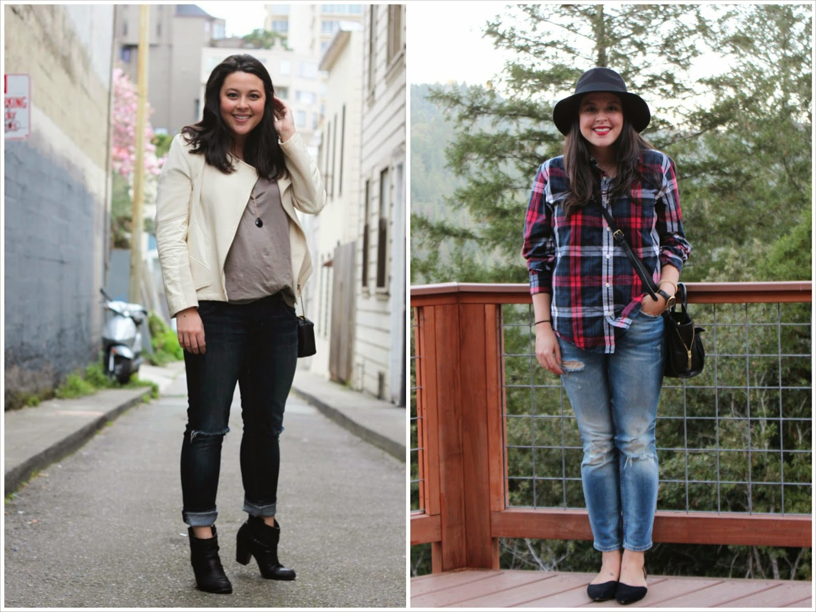 everlane tee, wool hat, plaid button up