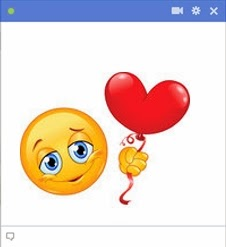 smiley face emoticon holding heart balloon