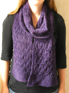 Forest walk scarf knitting pattern by Littletheorem, quick easy knit lace scarf
