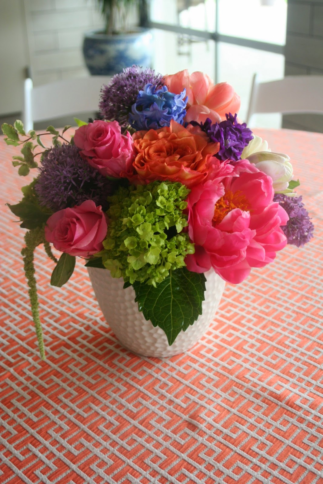Coral Charm peony, stock, roses, allium, engagement, centerpiece, Isha Foss Events, Cavalier Golf, Papaya linen