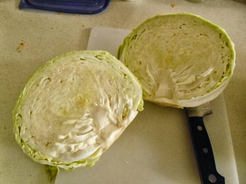 cabbage in half